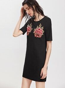Black Embroidered Flower Applique Tee Dress