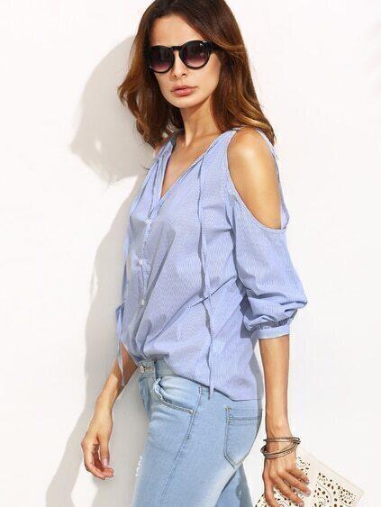 Blue Stripe V Neck Cold Shoulder Long Sleeve Blouse