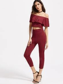 Burgundy Off The Shoulder Ruffle Trim Top With Pants