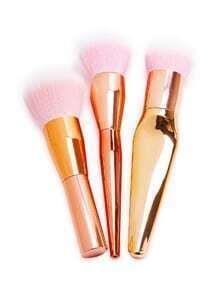 Sets de cepillo profesional de maquillaje coméstico-oro rosa 3piezas