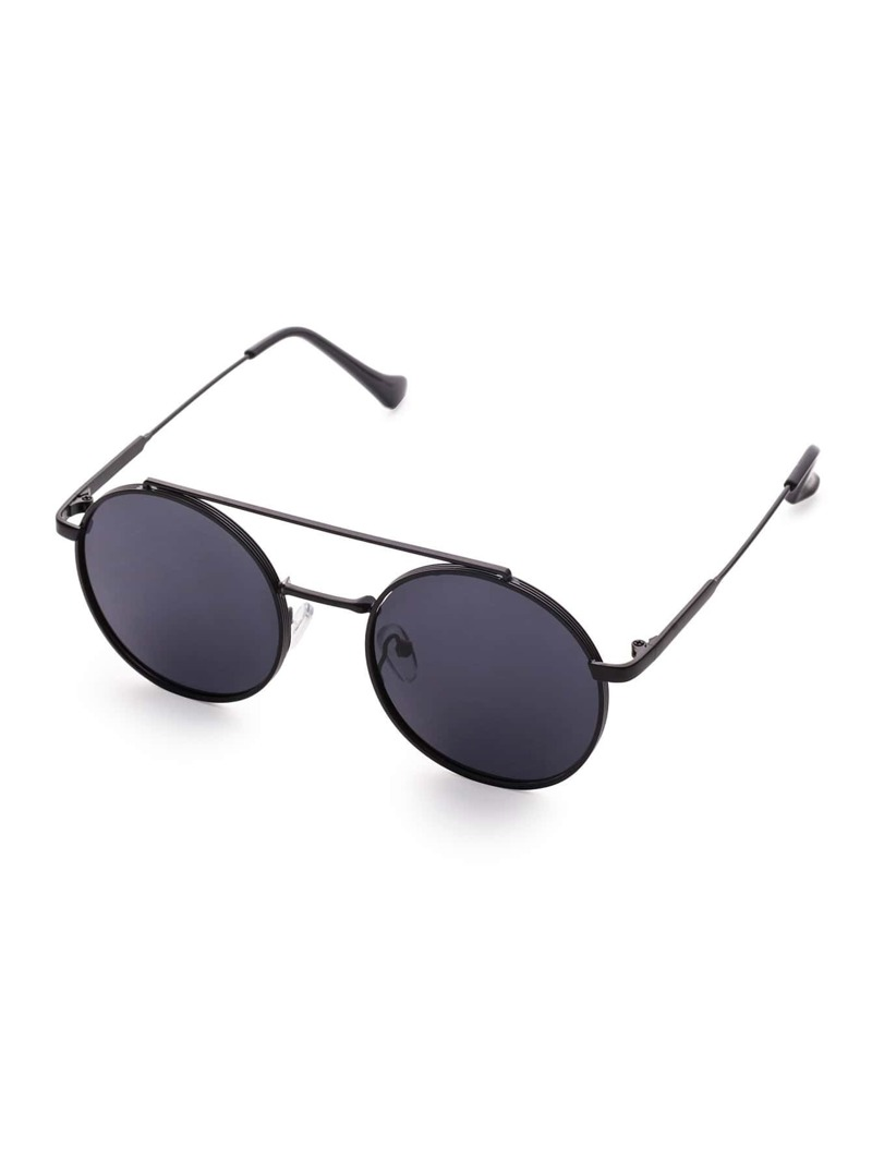 1308dbf61 Black Frame Flat Lens Double Bridge Round Sunglasses | ROMWE