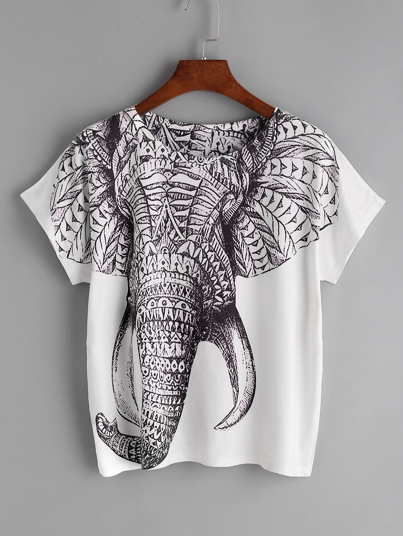 imprimer elephant t shirt blanc french romwe. Black Bedroom Furniture Sets. Home Design Ideas