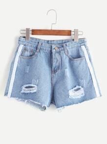 Blue Ripped Contrast Trim Raw Hem Denim Shorts