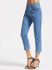 Blue Asymmetrical Hem Straight Jeans