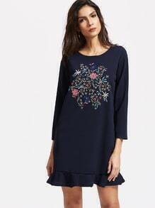 Navy Flower Embroidery Ruffle Hem Dress