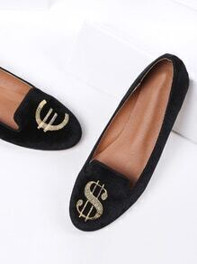 Black Dollar Embroidery Velvet Ballet Flats