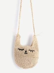 Beige Katze Form Stroh Crossbody Tasche