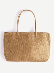 Khaki Strand-Art-Stroh-Einkaufstasche