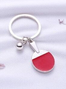 Red Ping Pong Bat Keychain