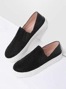 Black Round Toe Glitter Flatform Sneakers