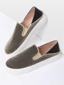 Gold Round Toe Glitter Flatform Sneakers