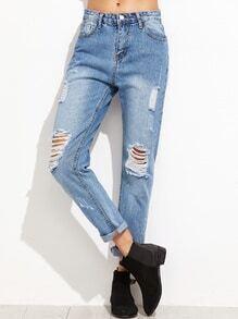 Jeans mit Zeerissen Design Manschette -blau