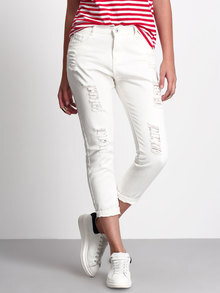 86206d364ee White Ripped Ankle Jeans