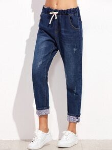 Blue Bleach Wash Drawstring Cuffed Jeans