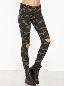 Camo Print Knee Ripped Ankle Pants