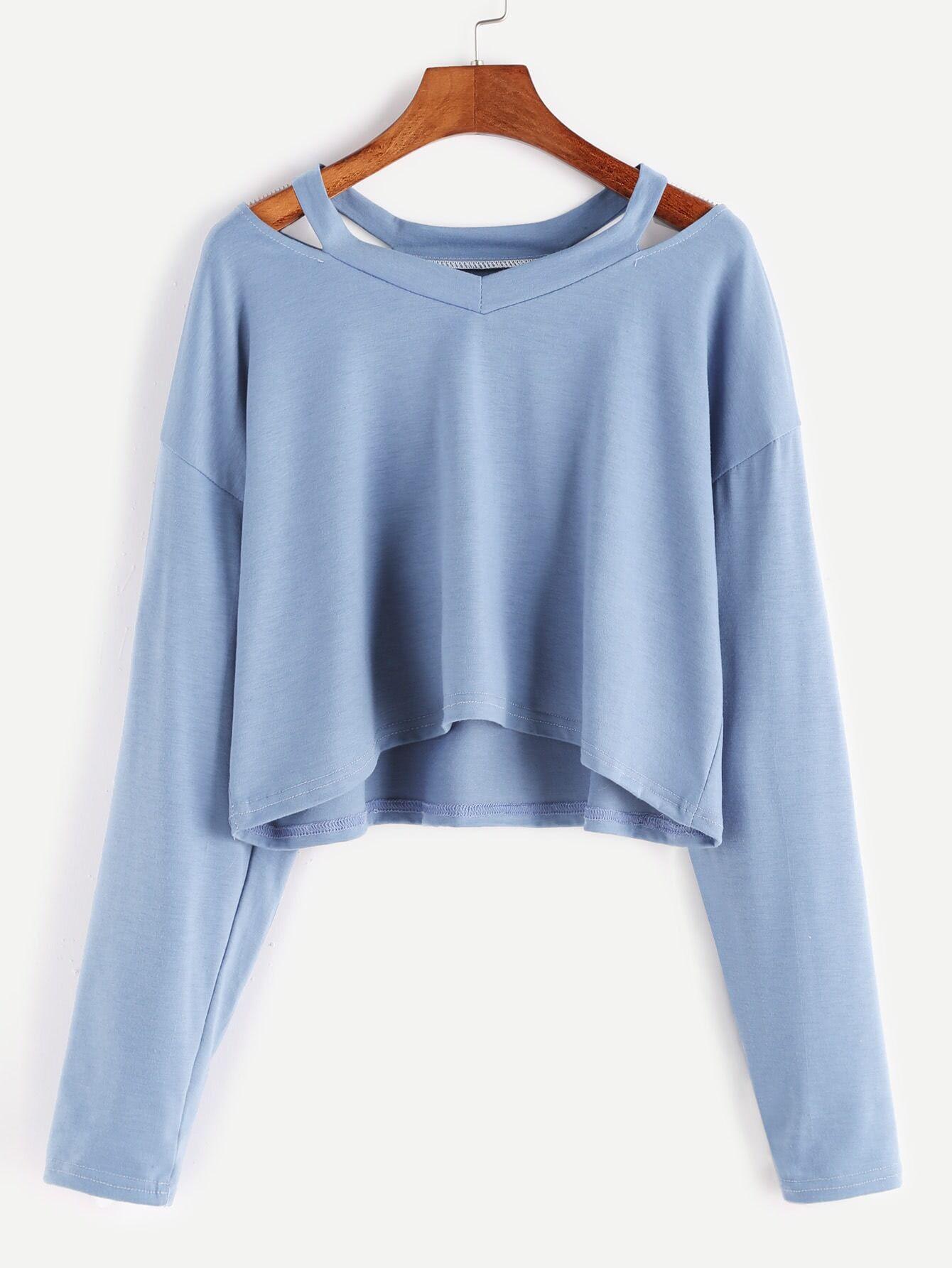 blue cut out neck crop tshirt romwe
