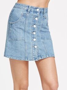 Light Blue Single Breasted Pocket Denim Skirt