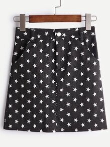 Black Star Print A-Line Denim Skirt