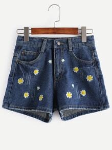 Shorts con bordado de flor en denim - azul oscuro