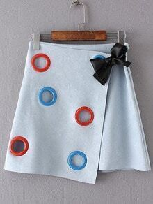 Blue Overlap Bow Detail A Line Skirt