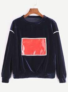 Royal Blue Contrast Patch Velvet Sweatshirt