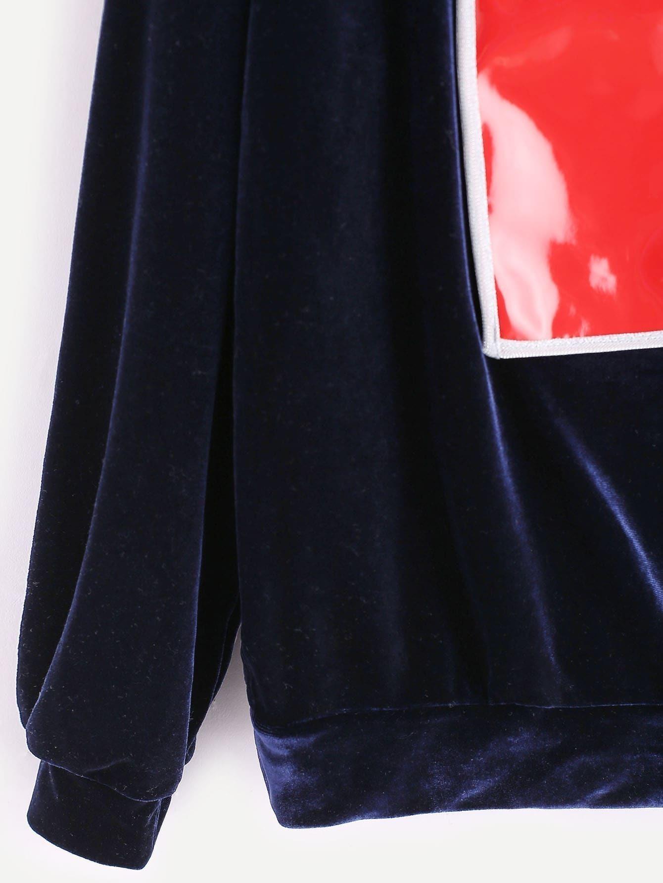 Royal Blue Contrast Patch Velvet Sweatshirtfor Women Romwe
