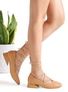 Khaki Square Toe Lace Up Heeled Shoes