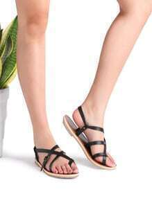 Black Cross Detail Flat Sandals