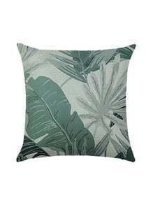 Leaf Print Square Pillowcase Cover