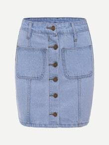 Blue Single Breasted Dual Pocket Denim Skirt