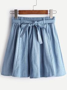 Blue Self Tie Box Pleated Denim Skirt
