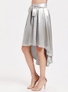Silver Bow Tie Dip Hem Skirt