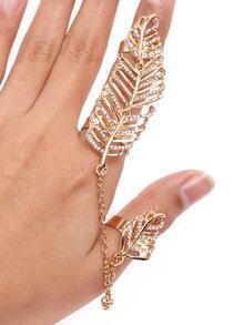 Gold Leaf Shape Rhinestone Chain Link Ring