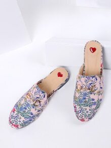 Pink Floral Print Flat Slippers