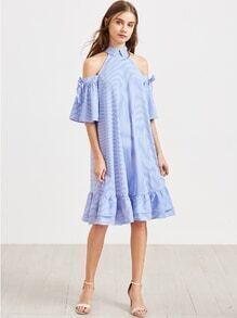 Vestido de rayas con hombro descubierto de manga con cordón ribete con volantes - azul