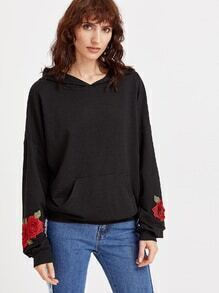 Black Drop Shoulder Embroidered Rose Applique Hoodie