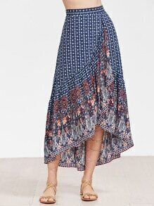 Blue Ornate Print High Low Ruffle Skirt
