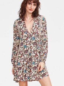 Multicolor Floral Print V Neck Crochet Insert Dress