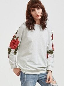 Heather Grey Embroidered Rose Applique Sweatshirt