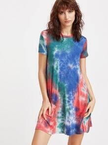Multicolor Tie Dye Print Short Sleeve Tee Dress