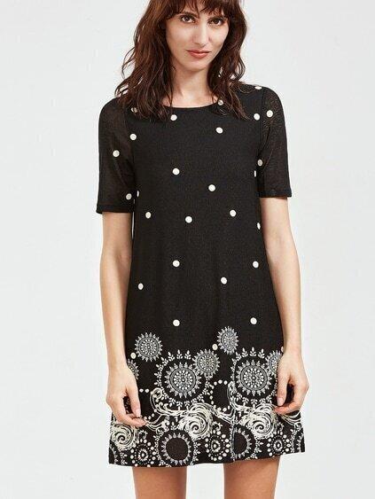 Black Vintage Circle Print Short Sleeve Dress