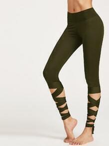 Olivgrün Wrap Up Hem Leggings