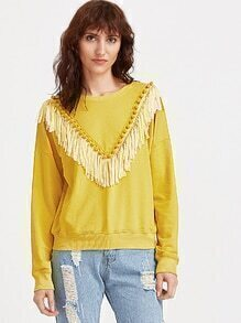Yellow Drop Shoulder Fringe Trim Sweatshirt