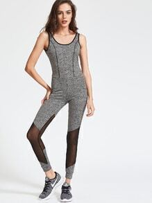 Grey Marled Knit Contrast Binding Mesh Insert Skinny Tank Jumpsuit