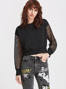 Black Drop Shoulder Fishnet Sleeve Sweatshirt
