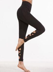 Leggings découpés avec lacet croisé - noir