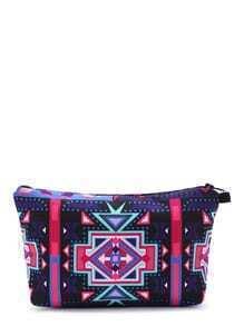 Purple Geometric Print Casual Makeup Bag