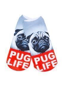 White Dog Print Ankle Socks