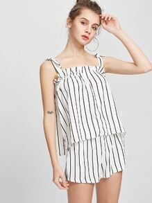Tie Shoulder Vertical Striped Top With Shorts