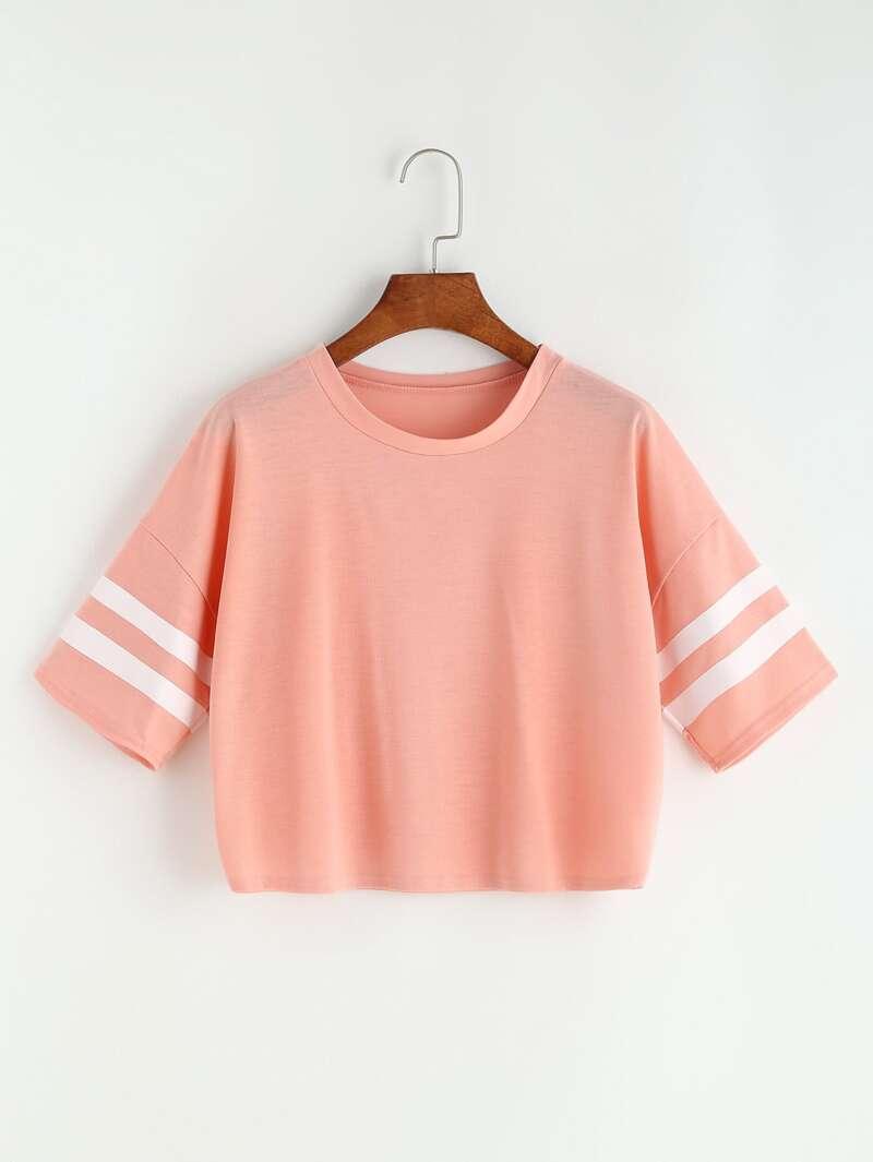 Corta Rosa Universitaria Hombro De Caído Camiseta Raya 534RLAj